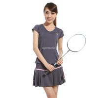 badminton skirt - new short sleeved tennis skirt culottes suit track suit female models fashion tennis clothes badminton skirt