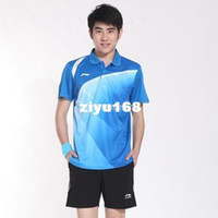 Wholesale Li Ning badminton clothing men and women sports suit turned round neck short sleeve t shirt fashion badminton sets