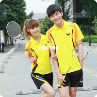 Wholesale butterfly short sleeve suit men and women badminton team competition clothing uniformed fashion badminton sets