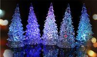 christmas trees wholesale - 8pcs Crystal Christmas Tree Night Lamp Christmas Decoration Gift LED Night Light Halloween Gifts