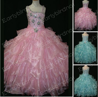 One Shoulder  Beads Organza Real Image 2013 Lovely Little Girl's Pageant Dresses One Shoulder Hand Beaded Crystals Tiered Organza Ball Gown Flower Girl Dresses LR883