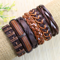 Wholesale trendy bangels Brwon ethnic tribal genuine adjustable leather bracelet for men D74
