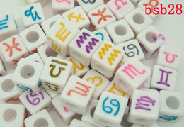 Wholesale BSB28 New g Acrylic Loose Beads Square White Cube And Colorized Roman Characters Bead Novel Fun Filled DIY For Bracelet Craft Making