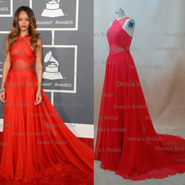 Wholesale Inspired by Rihanna Dresses th Grammy Awards Red Carpet Celebrity Dresses A Line Sheer Crisscross Chiffon Red Color Chapel Train