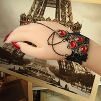 gothic jewelry - WS Fashion Handwork Black Gothic Sexy Lace Bracelet Cuff Wristband Chain Finger Ring Jewelry Set For Wedding Party