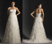 Wholesale New Sexy Strapless Wedding Dresses Pleats Appliques A Line Floor Length Tulle Maternity Bridal Gown Dress