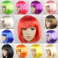 Bob style african wigs wholesale - New Fashionable BOB Style Short Cosplay Party Fancy Dress Fake Hair Wig Halloween Wigs colors in choice
