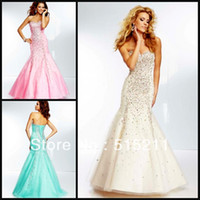 Reference Images Sweetheart Chiffon Beaded Sweetheart Pink Champagne Aqua Mermaid Prom Dresses 2014 Free Shipping