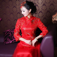 Wholesale luxury Chinese dress Gold and silver thread embroidery dragon and phoenix Red cheongsam wedding dress ball gown size