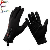 Wholesale man Anti slip Wind stopper winter Cycling Ski Bike Bicycle waterproof warm black zipper gloves