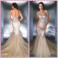 Sheath/Column Modern Sequins 2014 New fashion illusion neck mermaid sweep train sheer tulle prom gowns and evening dresses with beads sequins 1022B