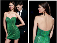 Cheap Reference Images Cheap Green Cocktail Dresses Best Short/Mini Sequin 2015 Prom Dresses