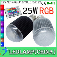 Wholesale 1pcs Promotions W AC V E27 E14 GU10 GU5 B22 LED RGB Light Bulb Colorful Million Colors table Lamp Remote Control led bulb