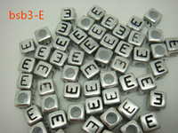 Wholesale BSB3 E Chic New g Acrylic Loose Beads Solid Square Sliver Cube And Black Letter E Bead Fun Filled DIY For Bracelet Craft Making