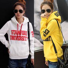 Pulls femme automne hiver coton de loisirs femme mode coréenne lettres polaire impression Sweatshirt Haut-vêtement 3 couleurs 5 tailles t5678
