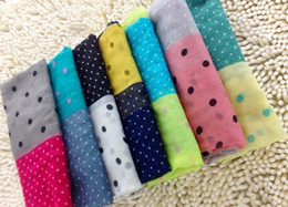 Wholesale girls women s tone dot Scarf Sarongs Hijabs Bandanas wrap shawl poncho cm mixed color