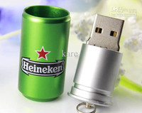Wholesale Hot sales GB Heineken Beer USB Flash Drive disk memory stick Pendrives thumbdrives