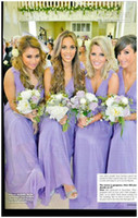 Chiffon Ruffle Sweep Train Wholesale - 2013-2014 New Fashion Sexy Floral V-Neck Greek Goddess Sheath Floor Length Lavender Chiffon Cheap Summer Beach Bridesmaid Party