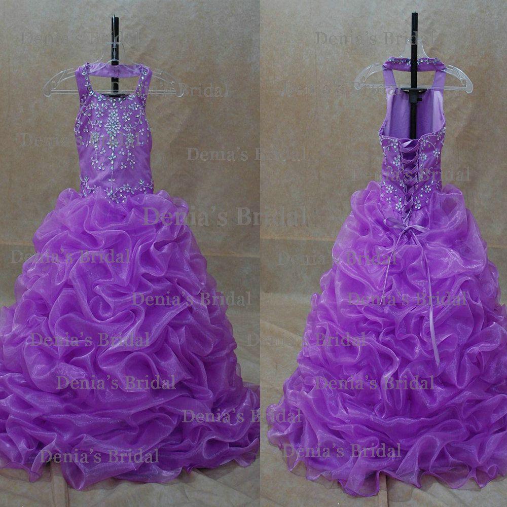 2013 Purple Kids Ball Gown Halter Beaded Ruffled Little Girl's ...