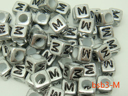 Wholesale BSB3 M Chic New g Acrylic Loose Beads Square Sliver Cube And Black Letter M Bead Distinctive Fun Filled DIY For Bracelet Craft Making