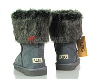 Wholesale UBG B grey Women s Boots Leisure middle boots luxurious good quality cowhide leather boots Vogue womens winter snow boots