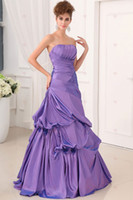 Ankle-Length Backless Model Pictures Charming Lilac Strapless Ball Gown Stain Lavender peacock Prom Dresses Ruffles Floor Length Lace Up Formal Pageant Dress Gowns Custom