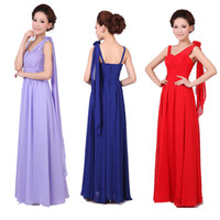 Cheap 2015 new women Evening wedding bridesmaid chiffon prom maxi gown drapped formal dress plus size under 50$ red lilac champagne pink royal blu