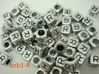 Wholesale BSB3 R New g Acrylic Loose Beads Solid Square Sliver Cube And Black Letter R Bead Distinctive Fun Filled DIY For Bracelet Craft Making