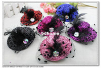 Wholesale 6 colors inches Solid Felt Mini Top Hat Fascinator Base Party Hats net yarn flower feather sexy party hairpins H9049