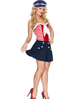 adult navy costume - Sexy Cosplay Sailors Sea Adult Costumes For Women Plus Size Vintage Sailor Girl Costume Navy Skater Skirt Outfit SM8835