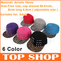 Wholesale Ball Caps Hat Circumference cm Adjustable Acrylic Fabric Baseball Hats Punk Style Rivet Hip Hop Cap Leopard Lovers Hat Color