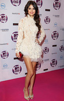 Wholesale Ema Selena Gomez Red Carpet Lace Short Celebrity Dresses with Keyhole Backless Cute Evening Gown CBD056
