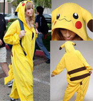 Wholesale New Hot Sale Yellow Pikachu Dress Lovely Cheap Pajamas Anime Cosplay Costume Unisex Adult Sleepwear Woman Coat