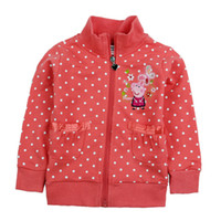 Wholesale F4271 Red Nova kids clothing cartoon peppa pig costume m y baby girls hoodies spring autumn cotton polka dots girls jacket outwear
