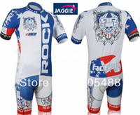 Wholesale pad COOLMAX Polyester white blue ROCK RACING bicycle apparel Cycling wear bikes wear short sleeve jersey shorts
