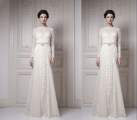 Wholesale 2013 Fall Winter Elegant Long Sleeve Wedding Dresses A Line Bateau Ivory Lace Sash Sequins Sheer Backless Sweep Train Bridal Gowns