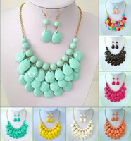 Wholesale Promotion Jewelry Bubble Bib Statement Necklaces Choker Colorfull Resin Bead Necklaces For Ladies yw