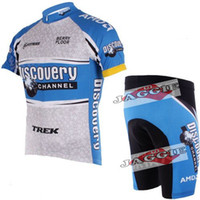 Wholesale Polyester pad COOLMAX white DISCOVERY Cycling clothing bikes clothes bicycle wear short sleeve jersey shorts