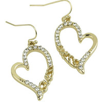 Wholesale Peach Heart Earrings Golden Silver Crystal Rhinestone Women Earrings wedding Gift
