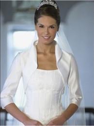 Wholesale ivory Satin Bridal Wraps Jacket with Long sleeves