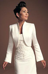 Wholesale ivory Satin Bridal Jacket Winter Coat with Long sleeves