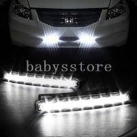 LED 12 Daytime Running Lights Car Truck Van Daytime Running Light Head Lamp White 8 LED DRL Daylight Kit Hot A1757