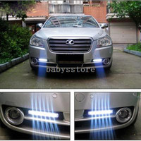 Cheap 2x Car Truck Van Daytime Running Light Head Lamp White 8 LED DRL Daylight Kit
