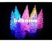 Wholesale LED night light LED glass crystal Christmas tree night lamp gift seven color changing promotion Including batteries