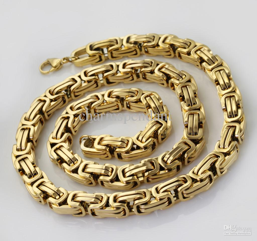 24inches Men's Necklace 8.5mm Byzantine Chain 100% ...
