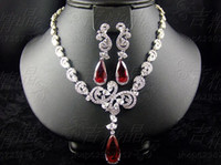 Wholesale Fashion fashion gorgeous jewelry ruby zircon necklace chain sets bride crystal accessories