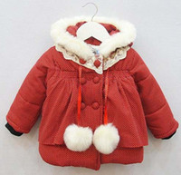 Coat Girl Winter Breasted Coat Winter Coats Baby Clothing Kids Quilted Coat Princess Hooded Coats Children Clothes Girls Cute Polka Dot Coat Child Overcoat