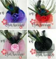 Wholesale Peacock feather fascinator mini top hat formal hat color cm piece