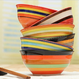 Wholesale Dia quot Hand Painted Rainbow Bowl Creative Mixed Color Porcelain Bowl Home Decor Dinnerware SH129
