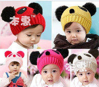 Boy Winter Blending 5 pairs lot,8 color cartoon cartoon panda baby hats,Handmade Knitted Crochet for baby,Animal Winter beanies,Mix Order,Free Shipping.MZ1019